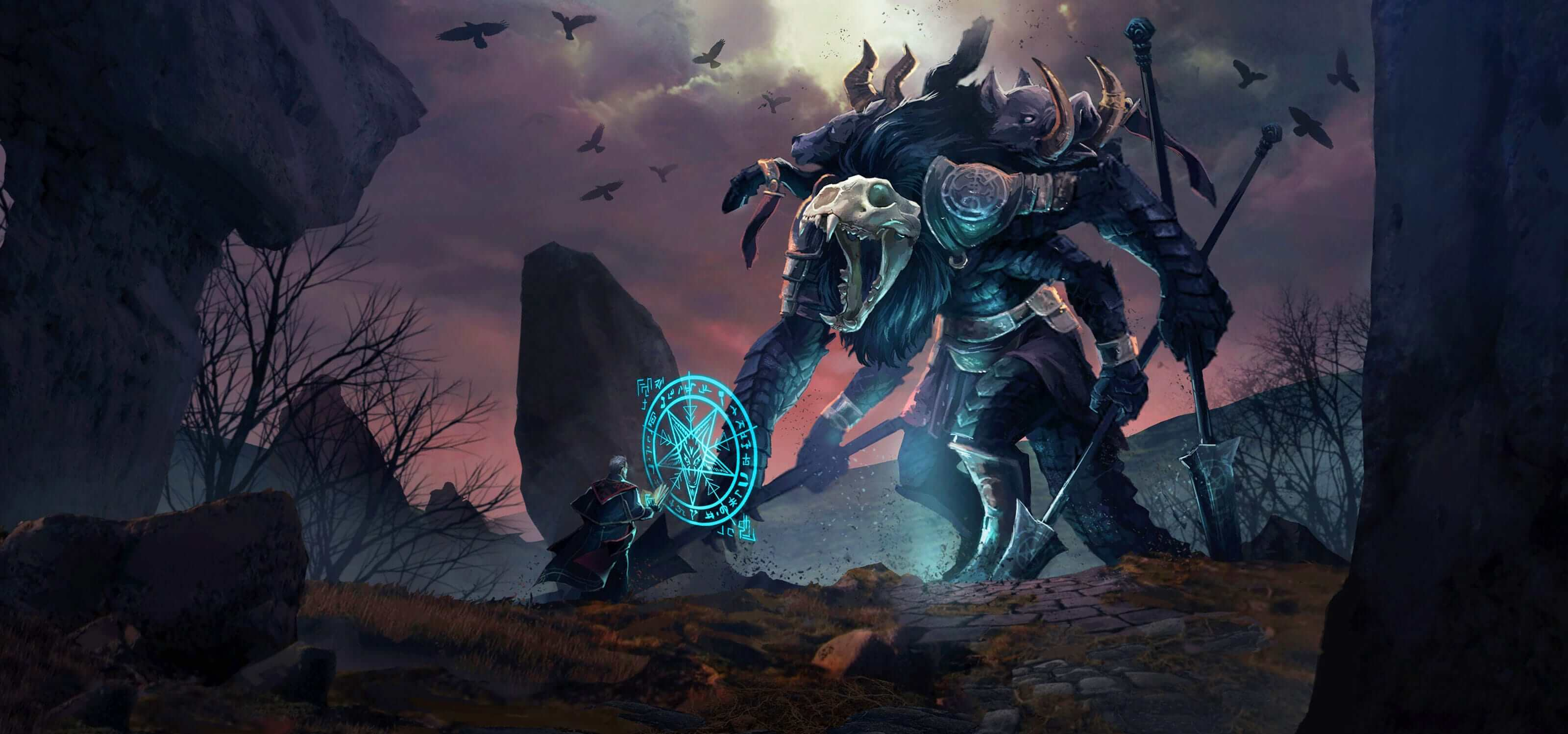 In a dark, desolate area, a man casts a glowing blue rune in front of a tall, roaring beast carrying large spears.