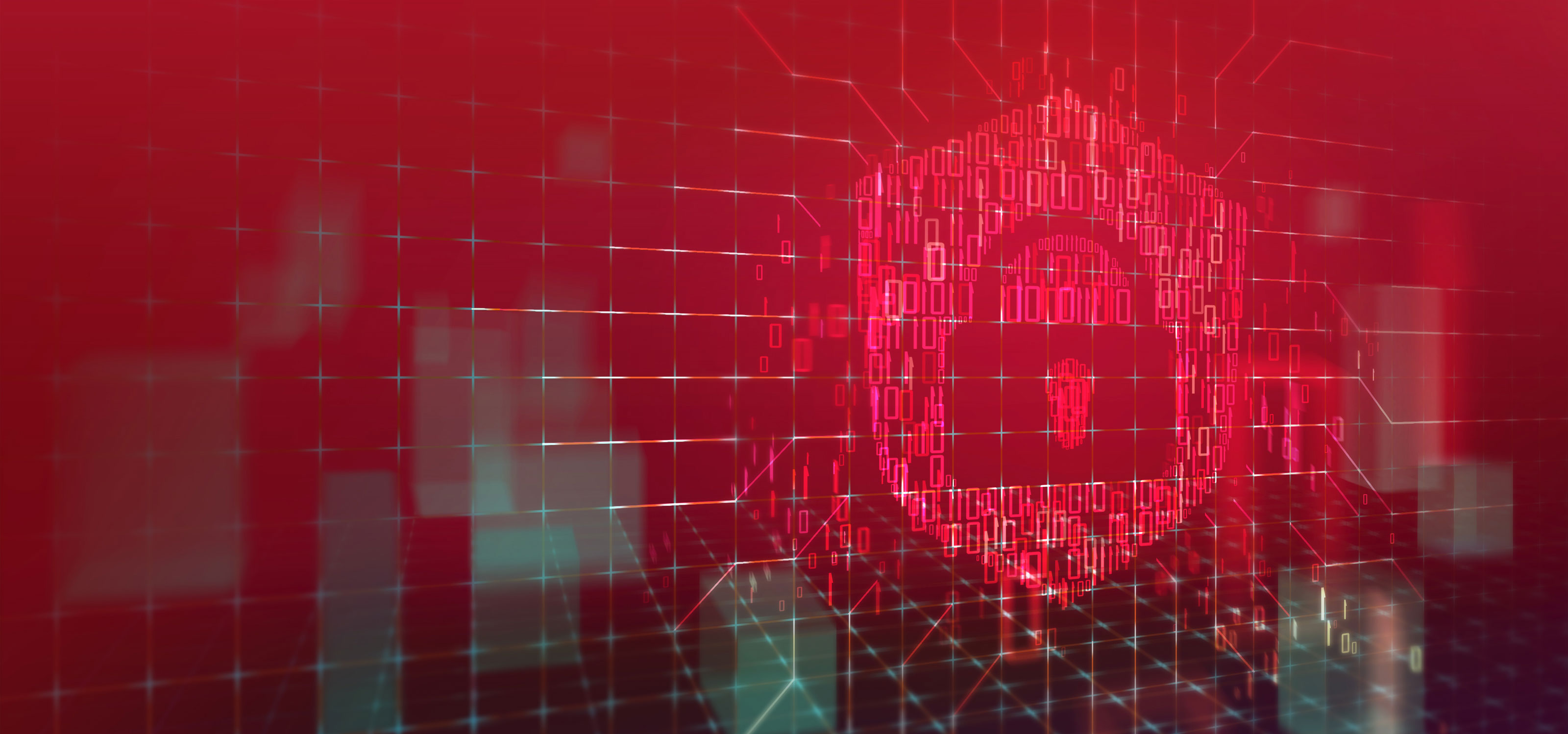 Graphic of red-hued ones and zeroes forming the image of a padlock against a red, abstract background.