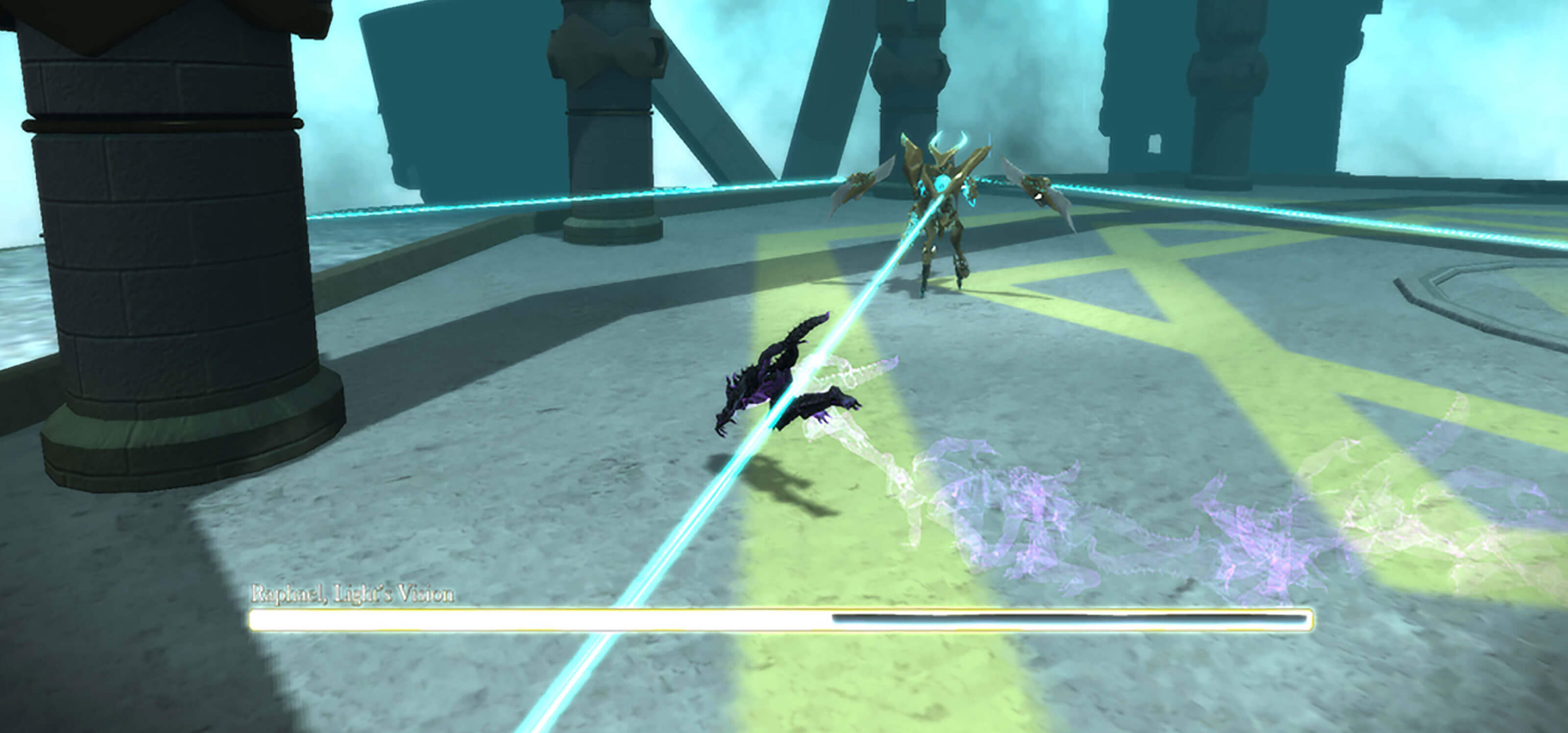 A demon-like figure in black and purple dodges blue beams coming from a large monster on a gray, polygonal parapet.