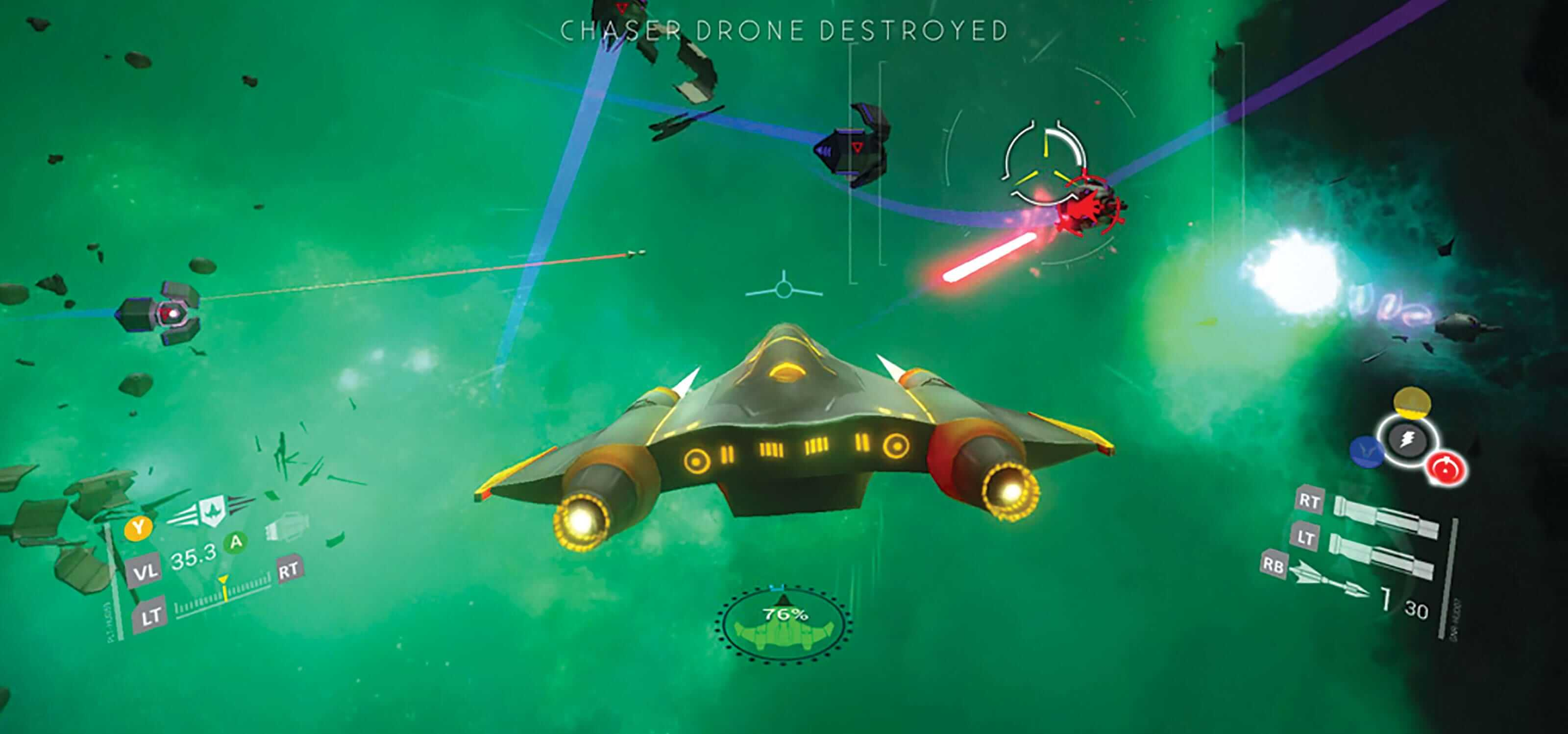 The player's spacecraft dodges an enemy's red laser bolt against a green-tinged background