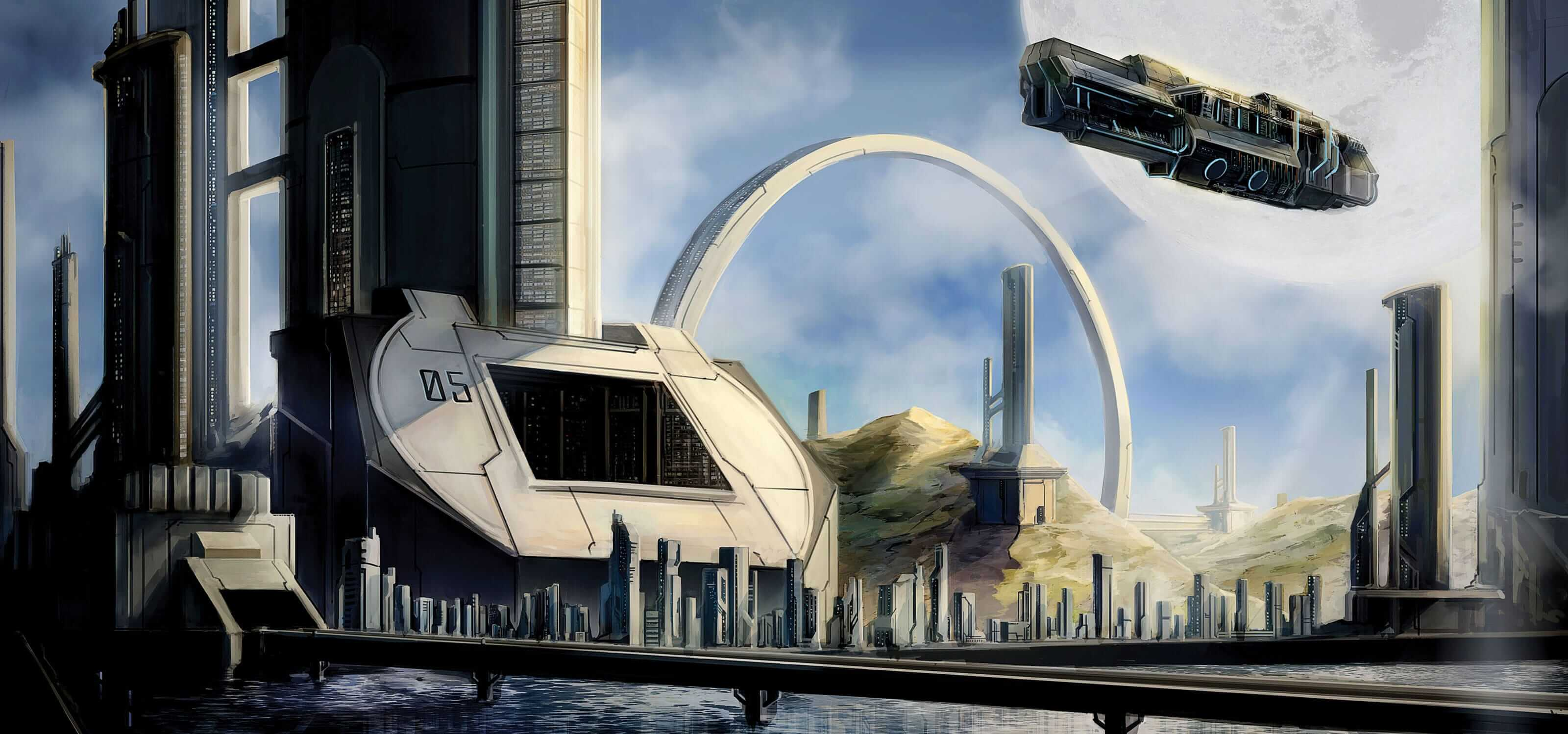 Digital painting of a futuristic city landscape with a large transport spaceship flying over the harbor