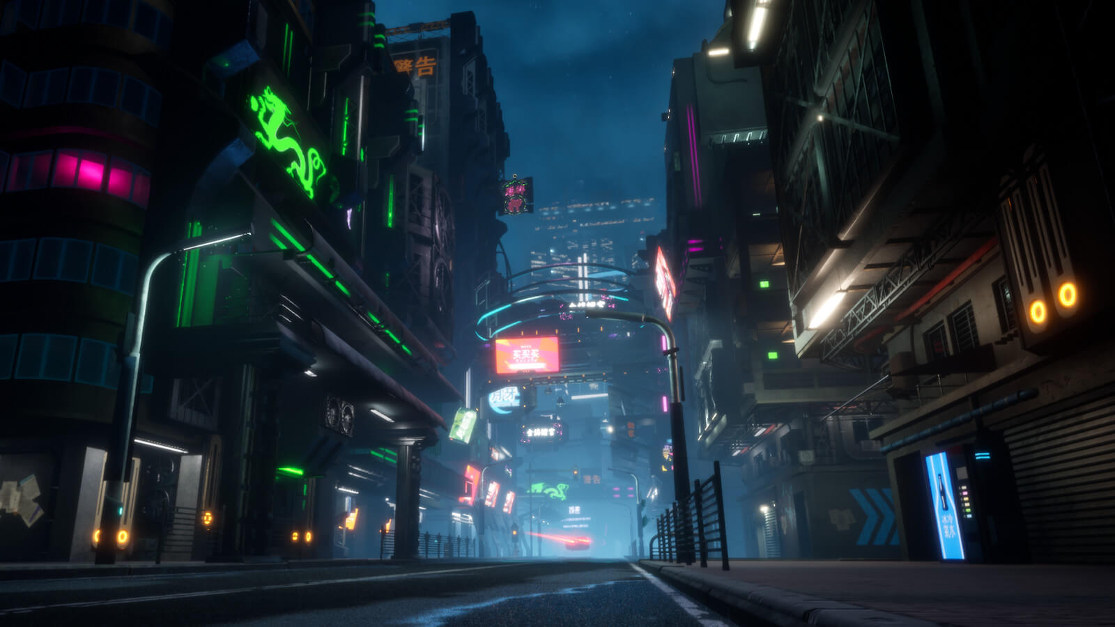Futuristic city street at night