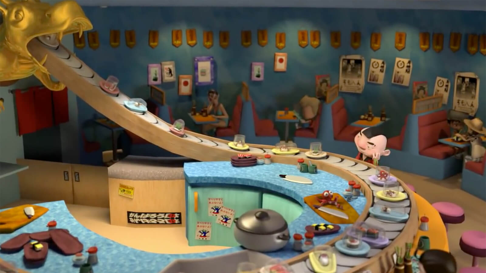 In a colorful CG animated scene, a short, bored man stares at incoming plates at a conveyor sushi restaurant.