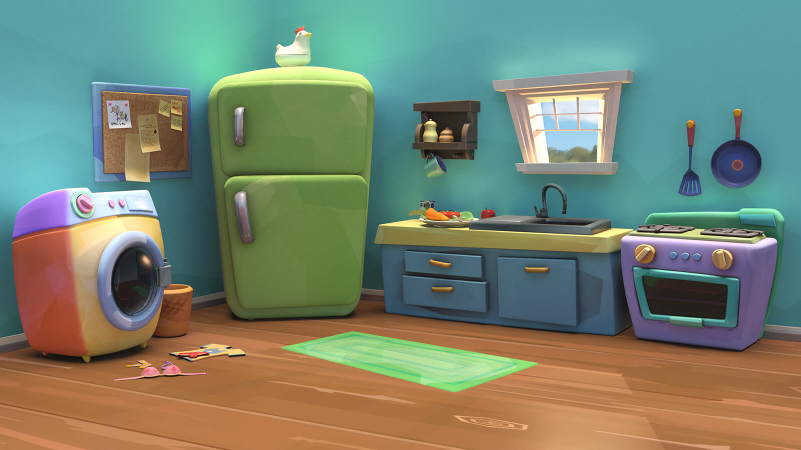 A colorful, stylized CG kitchen scene, with an oven, sink, fridge, and washing machine against a teal-colored wall.