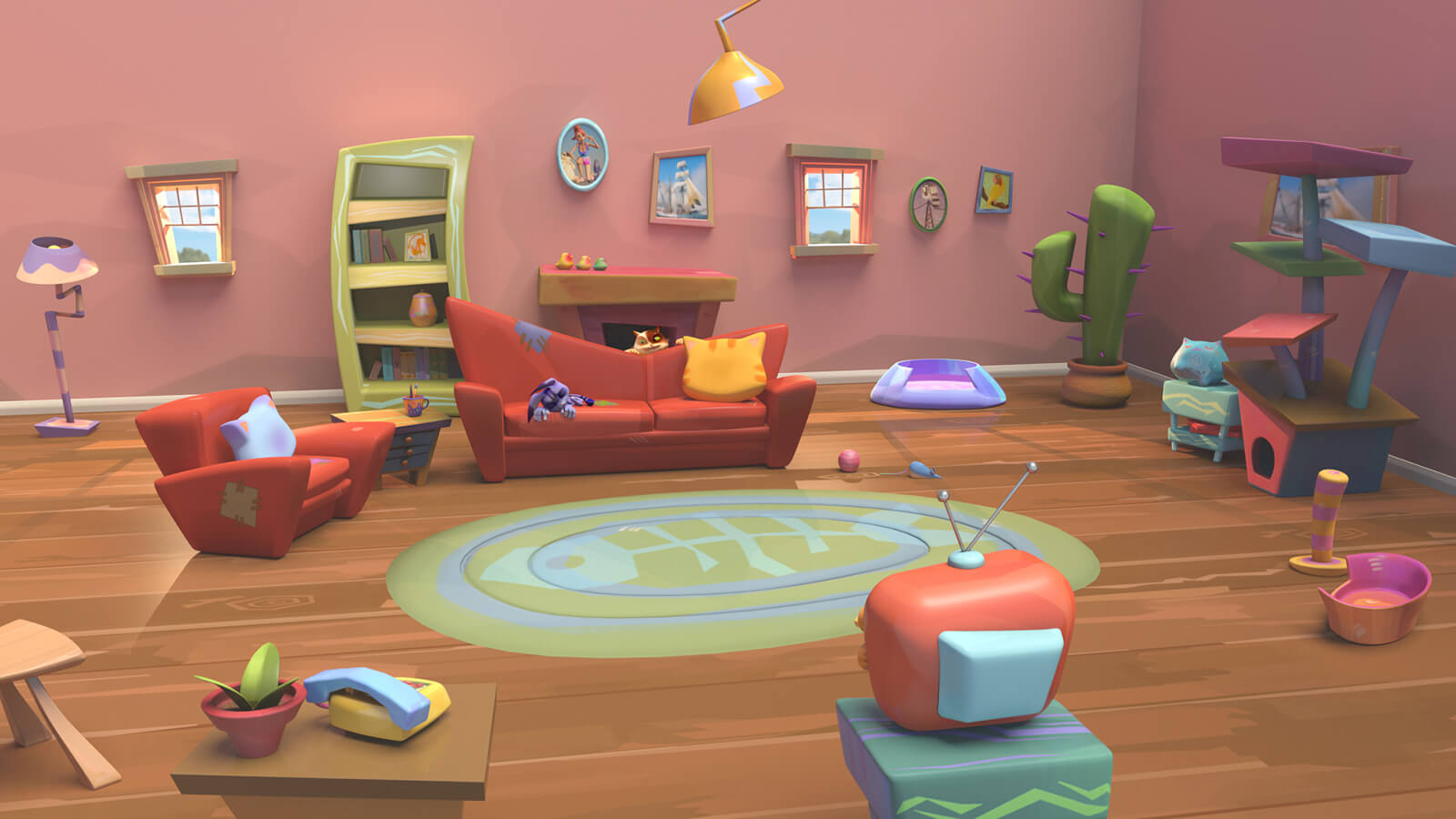 A colorful, stylized CG living room scene, with couches, shelves, a rug, television set, and cat furniture