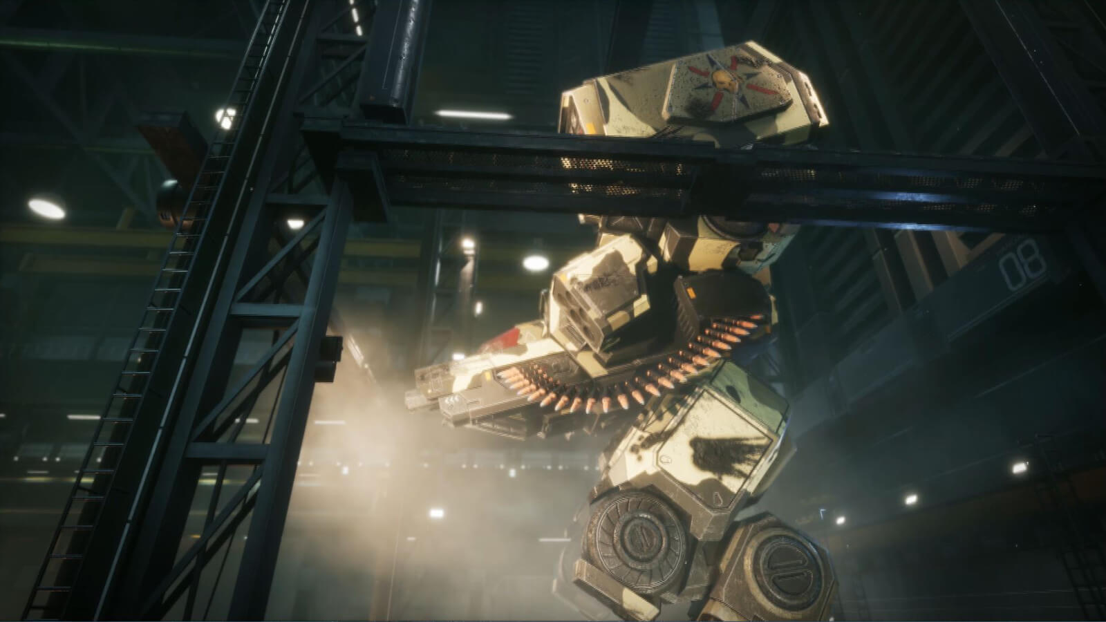 Seen from the side, a gigantic armored battle mech stands in a hangar.