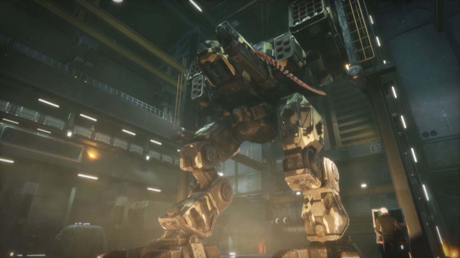 Seen from below, a gigantic armored battle mech stands in a hangar.