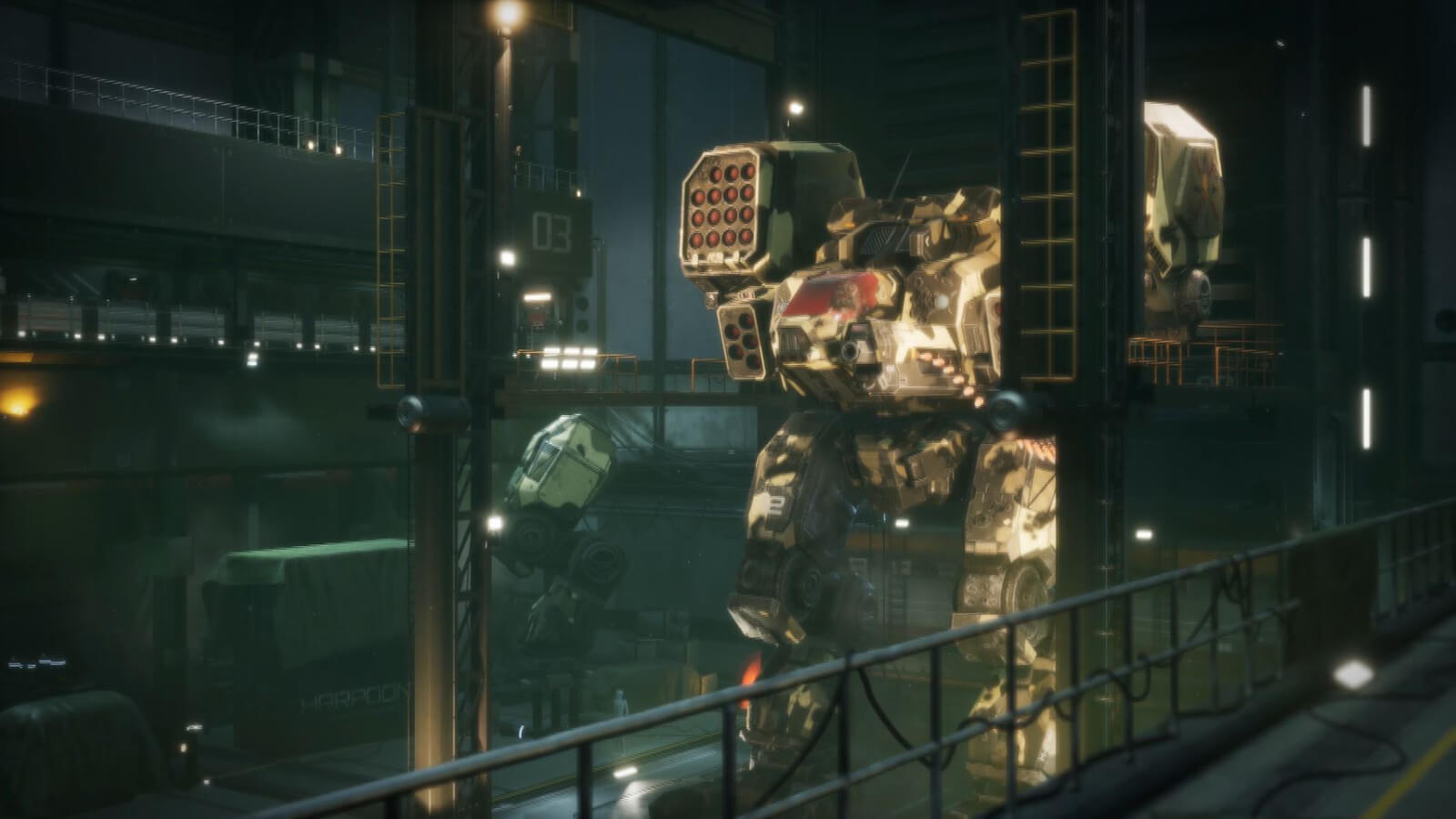 A gigantic armored battle mech stands in a hangar.