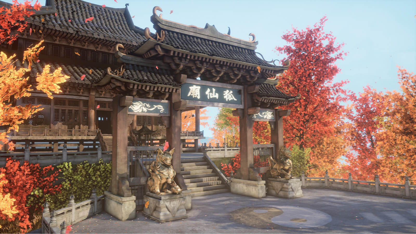Exterior of a temple in Autumn