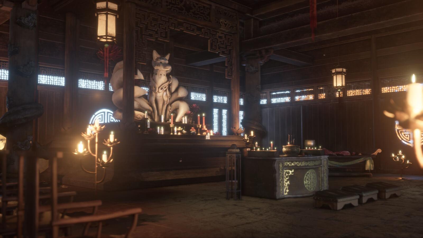 Fox statue in a temple interior