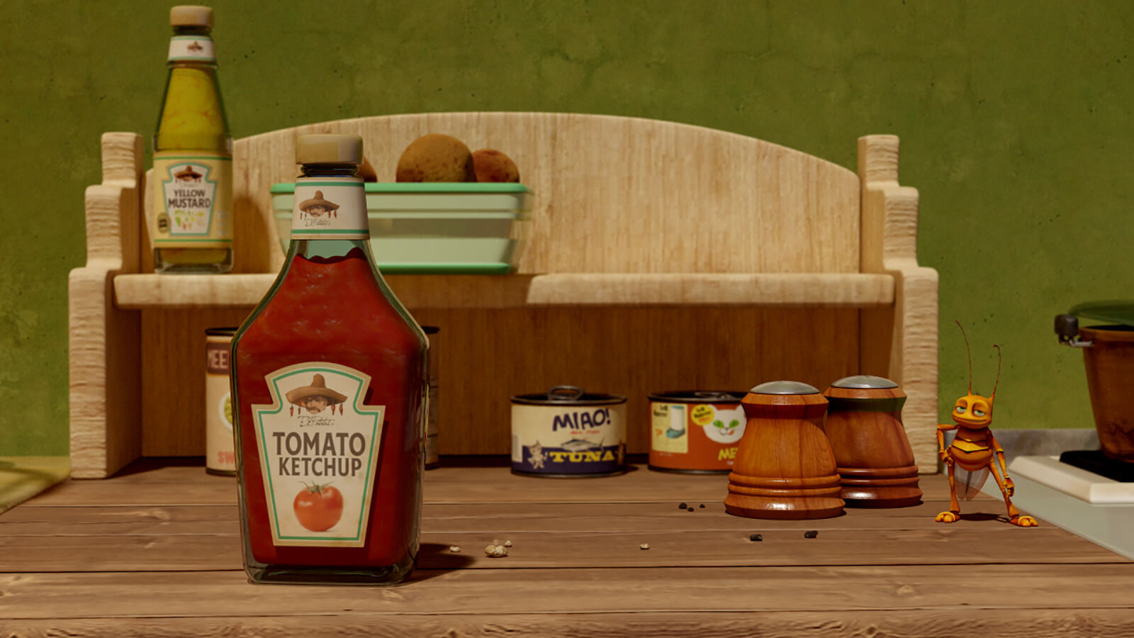 A CG-animated roach stands on a wooden countertop next to bottles of condiments, salt & pepper shakers, and canned goods.