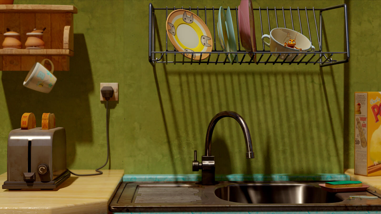 A colorful CG kitchen scene with a sink, toaster, and drying rack with a roach sitting in a tea cup.