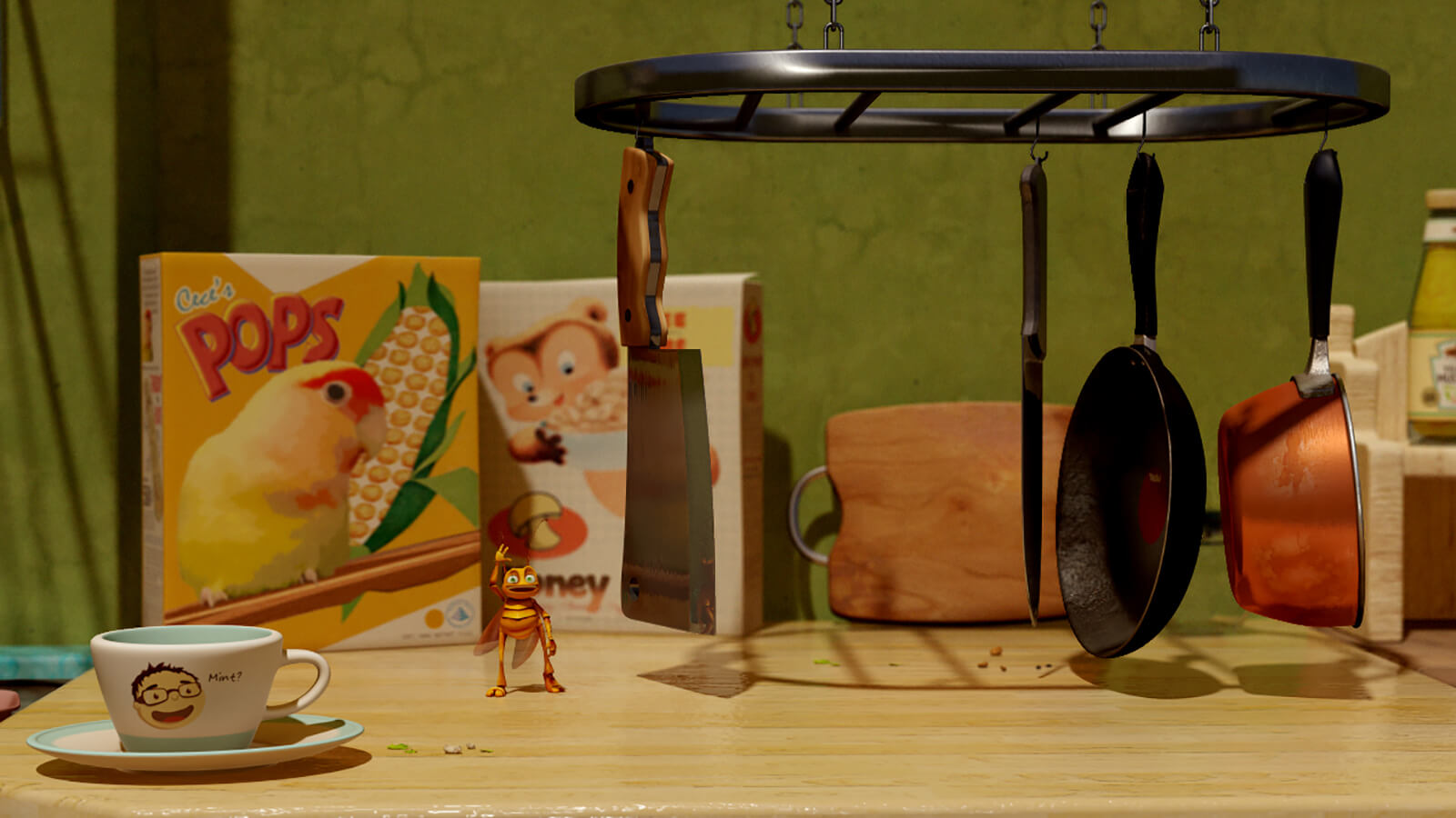 A CG-animated roach stands and waves at the viewer in front of cereal boxes, a teacup, and hanging knives and pans.