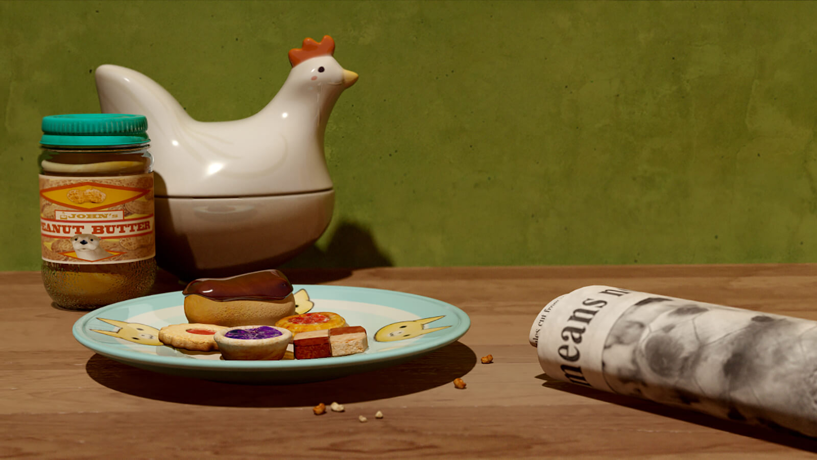 A CG scene on a wooden countertop with a plate of snacks, a rolled-up newspaper, a jar of peanut butter, and ceramic chicken.