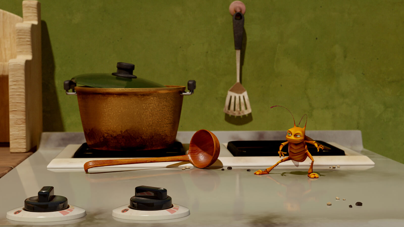 A CG-animated roach crouches adroitly on a stovetop in front of a pot and wooden ladle.