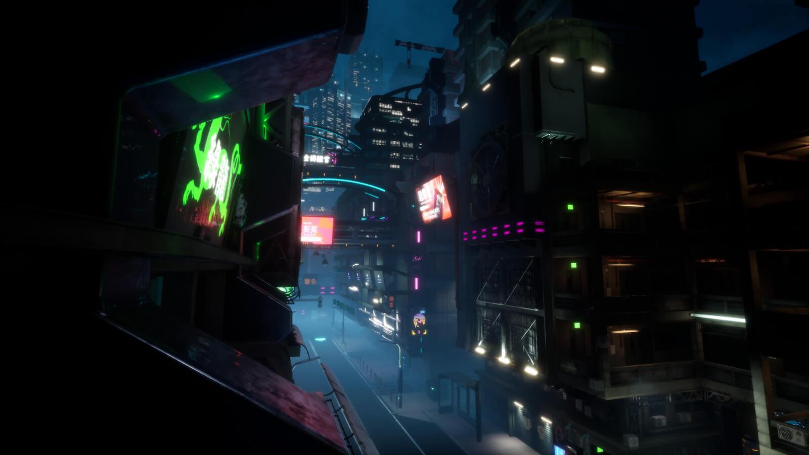 Futuristic city street at night
