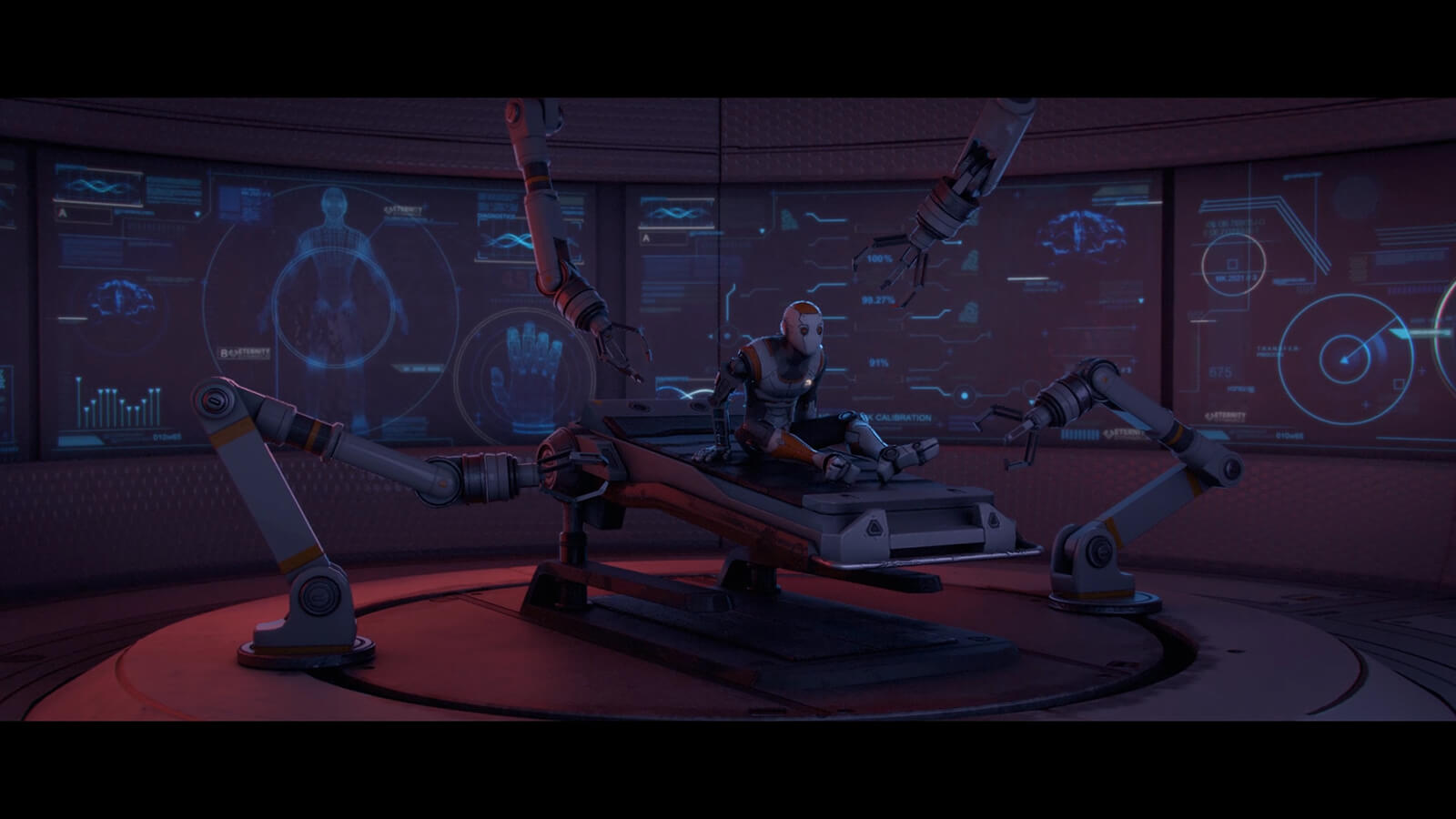 An android sits up in a medical bed surrounded by robotic arms.