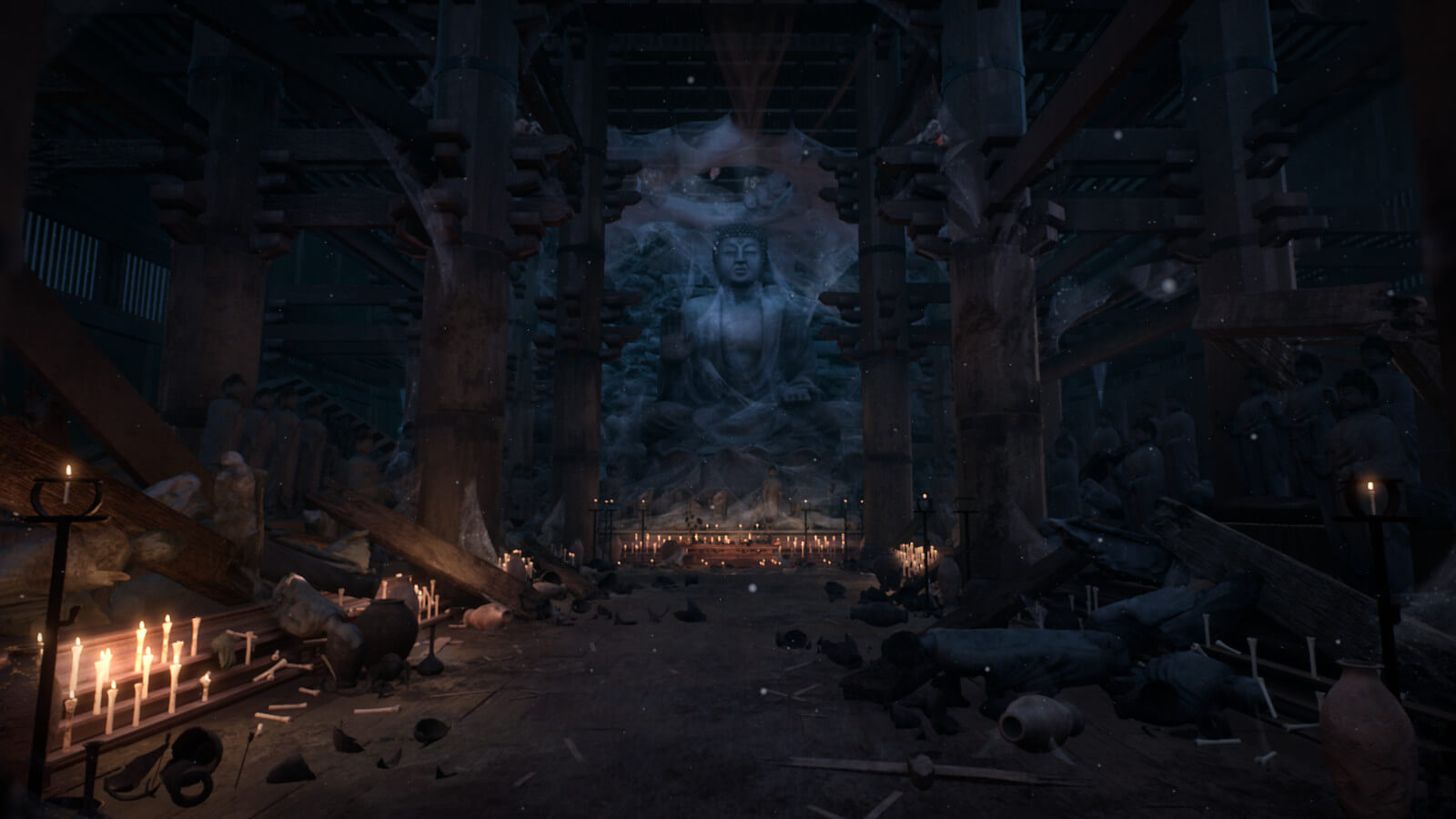 Crumbling temple interior