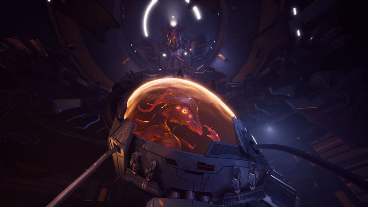 A large alien creature in a laboratory incubator