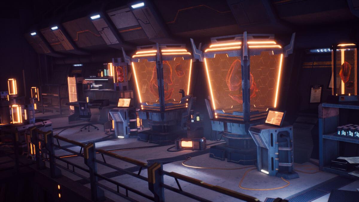 Multiple alien creatures in laboratory incubators