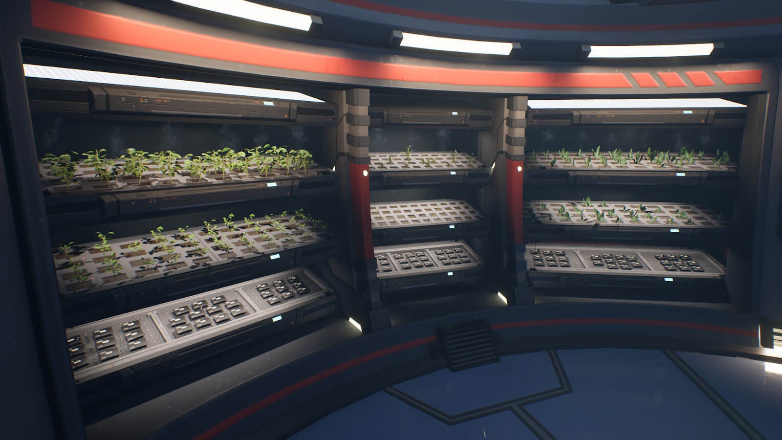 Rows of plants in science lab