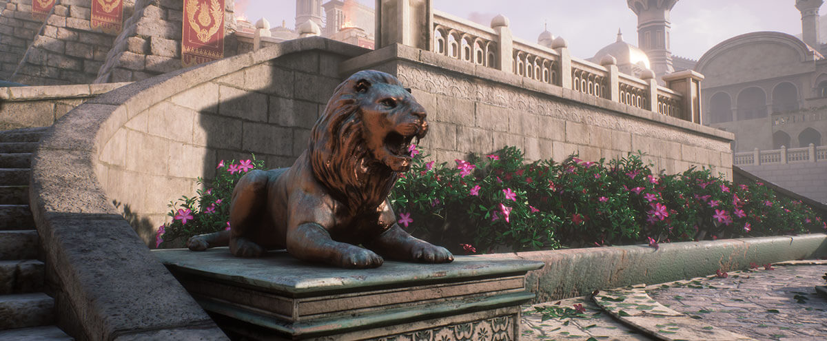 Lion statue at base of staircase