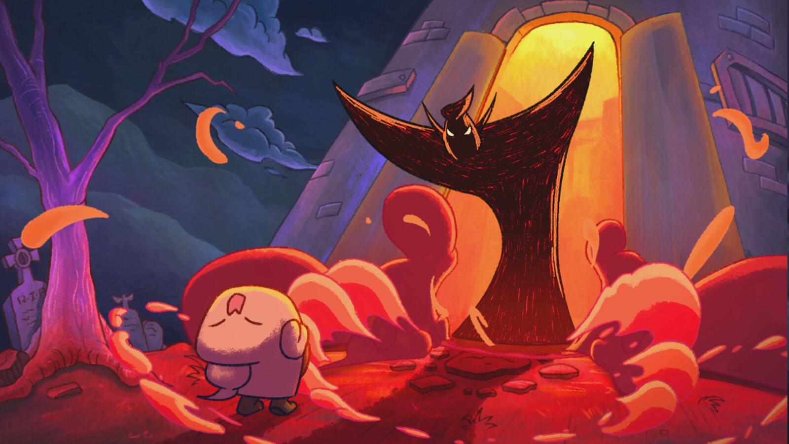 Dark creature opens a tower door