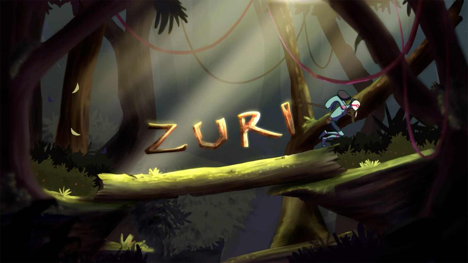 "A title card reading ""Zuri"" in a dimly lit forest, as a greenish figure runs across a log bridge."