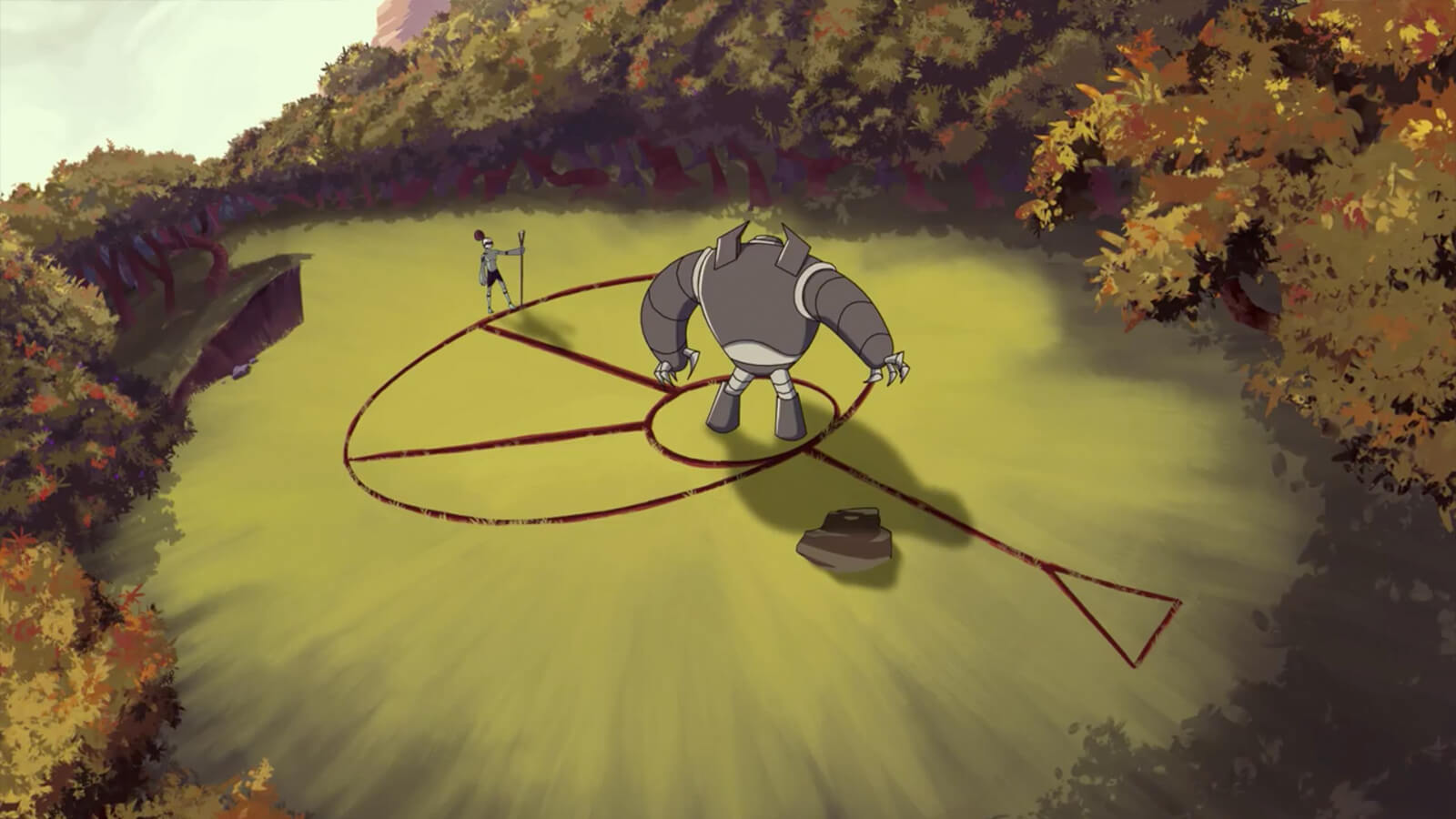 In a forest clearing, a large robot stands inside of an arcane symbol drawn into the ground by a nearby greenish humanoid.