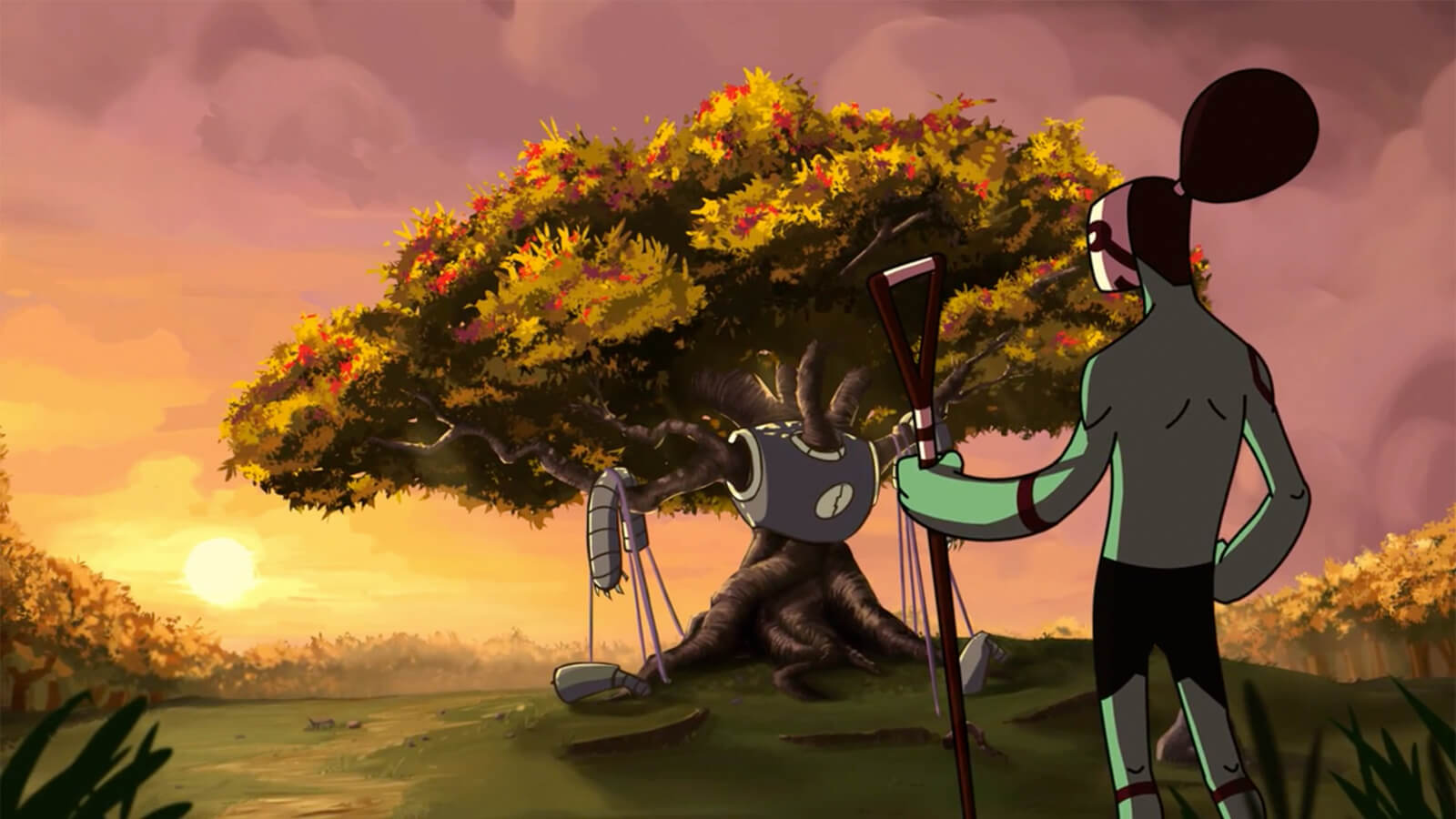Against a setting sun, a greenish humanoid stares at an tree which has grown through the broken remnants of a large robot.