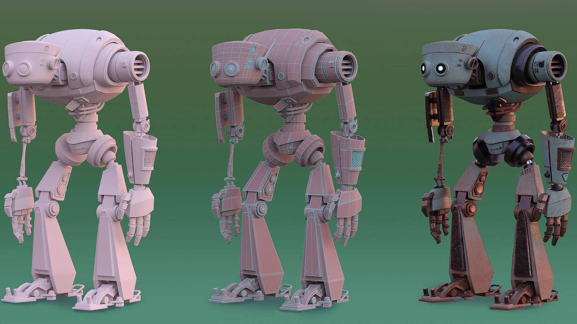CG model of a robot in three stages of development