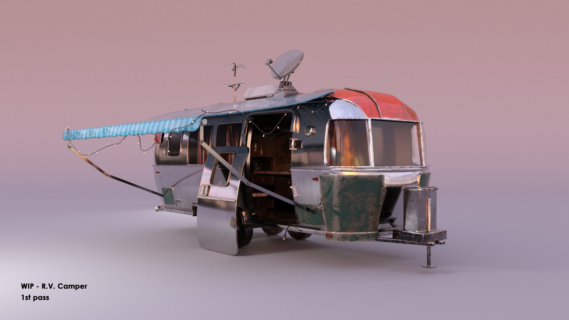 CG model of a travel trailer and extended canopy