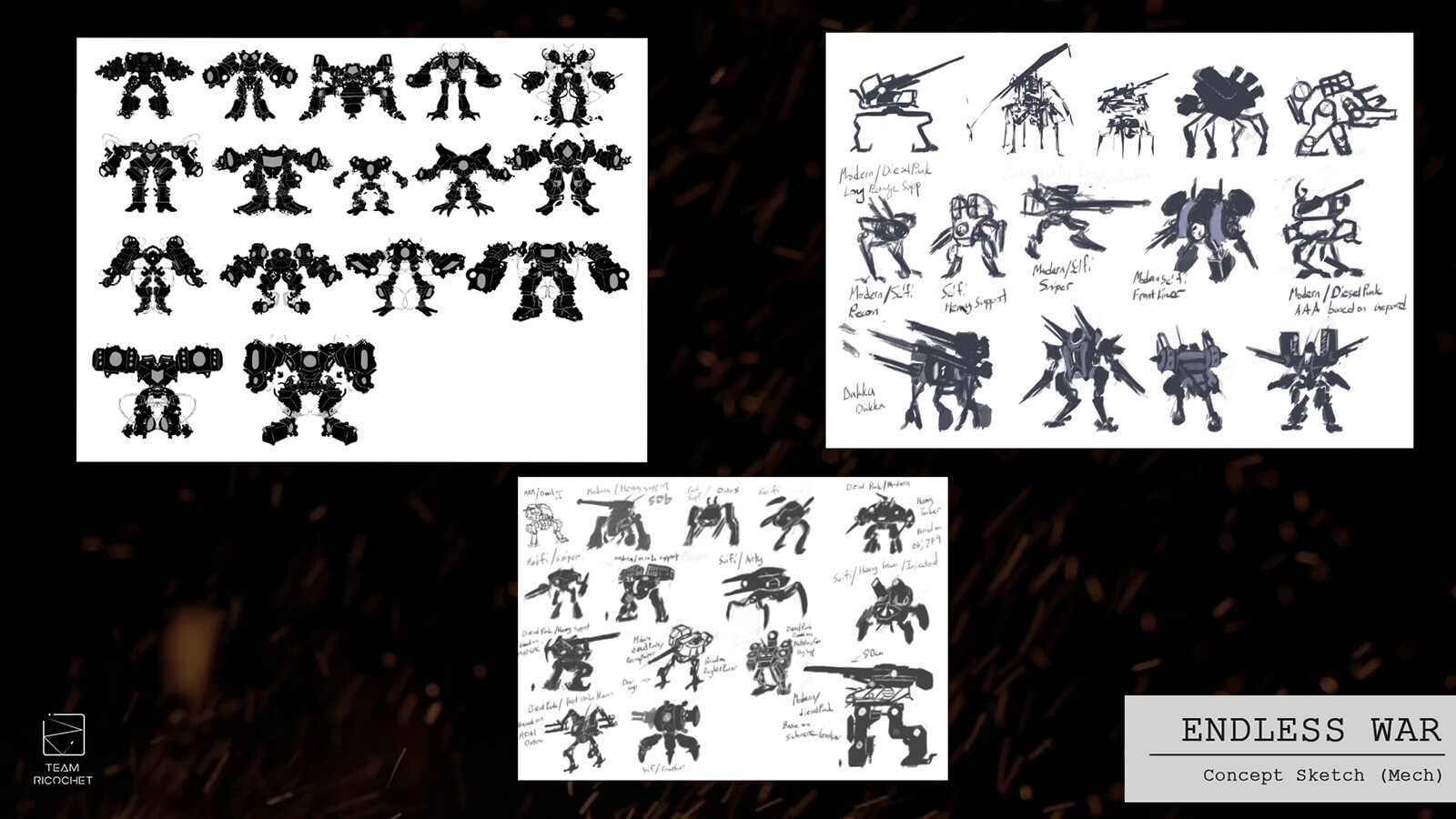 Dozens of concept sketches for a battle mech.