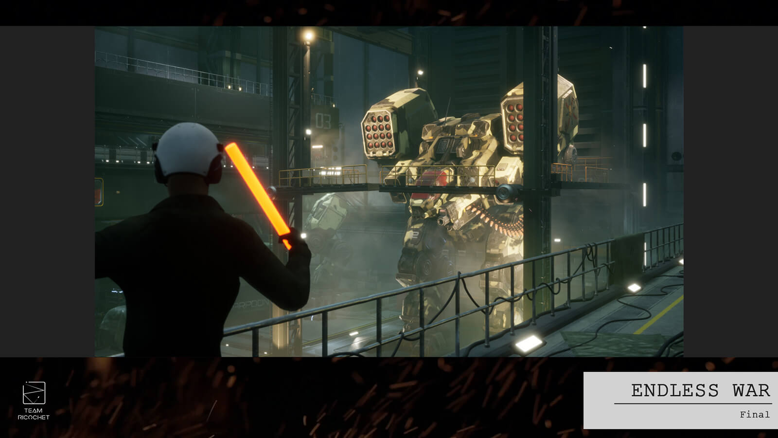 A man signals an armored battle mech with a glowing stick in an industrial-style hangar.