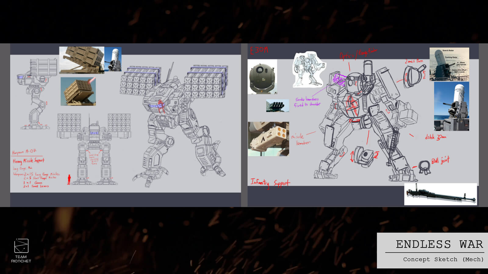 Concept sketches for various features of a battle mech.