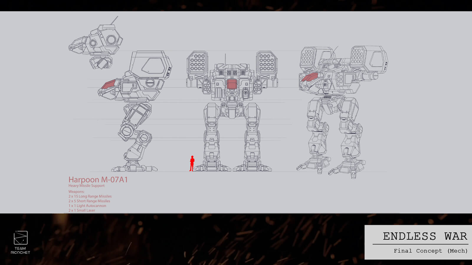 Turnaround sketches for a battle mech.
