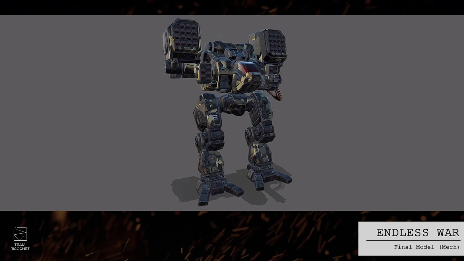 Textured 3D model for an armored battle mech.