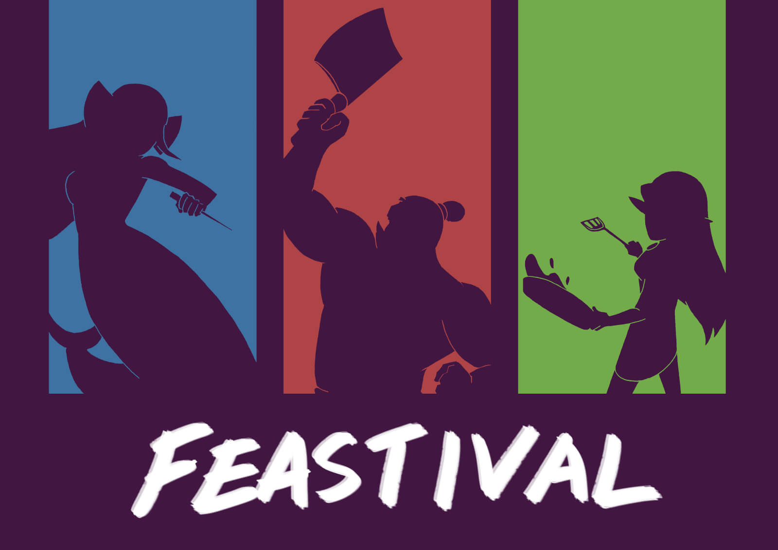 Feastival title with silhouette of an elf, orc, and mermaid