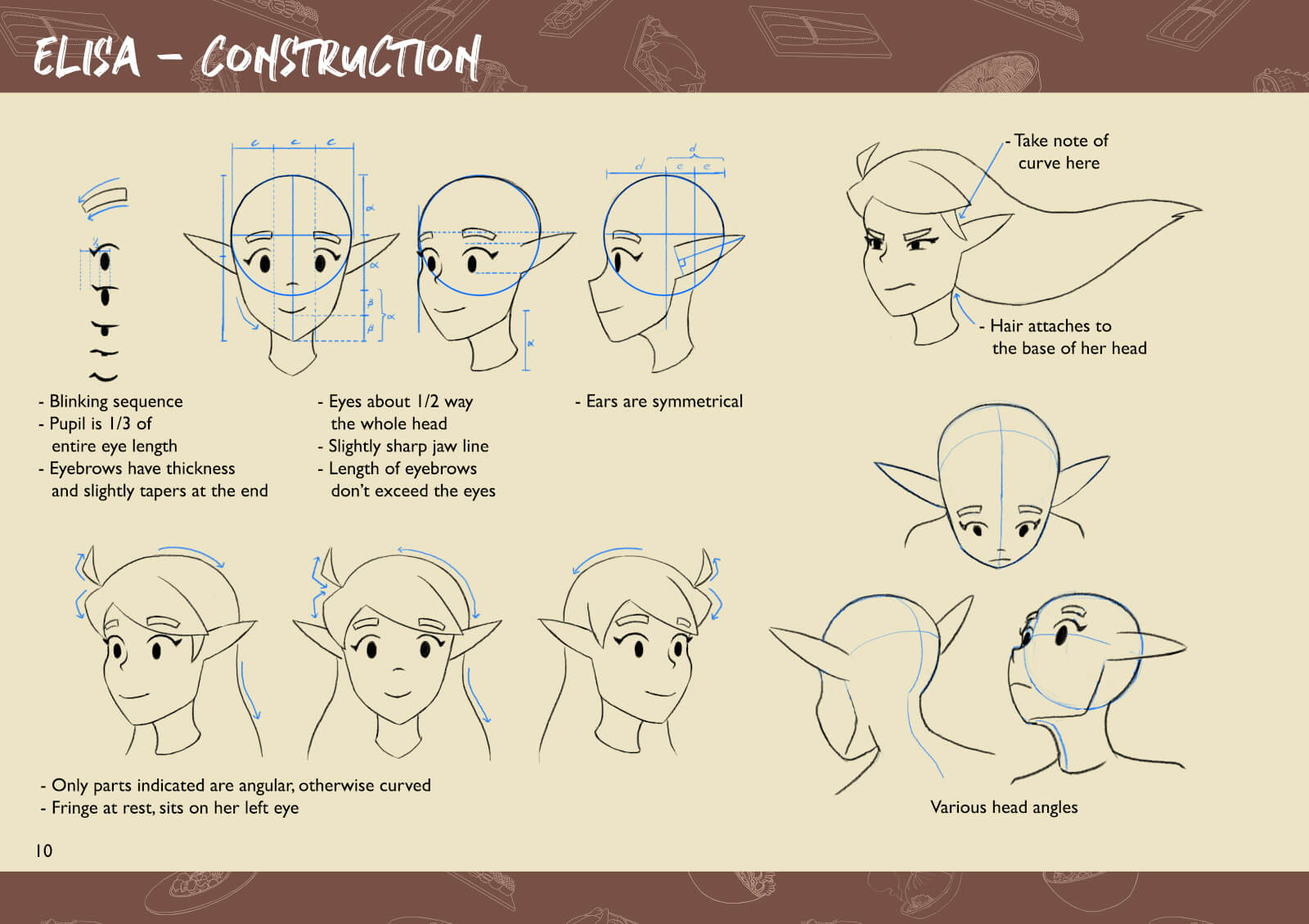 Sketches of elf character's head