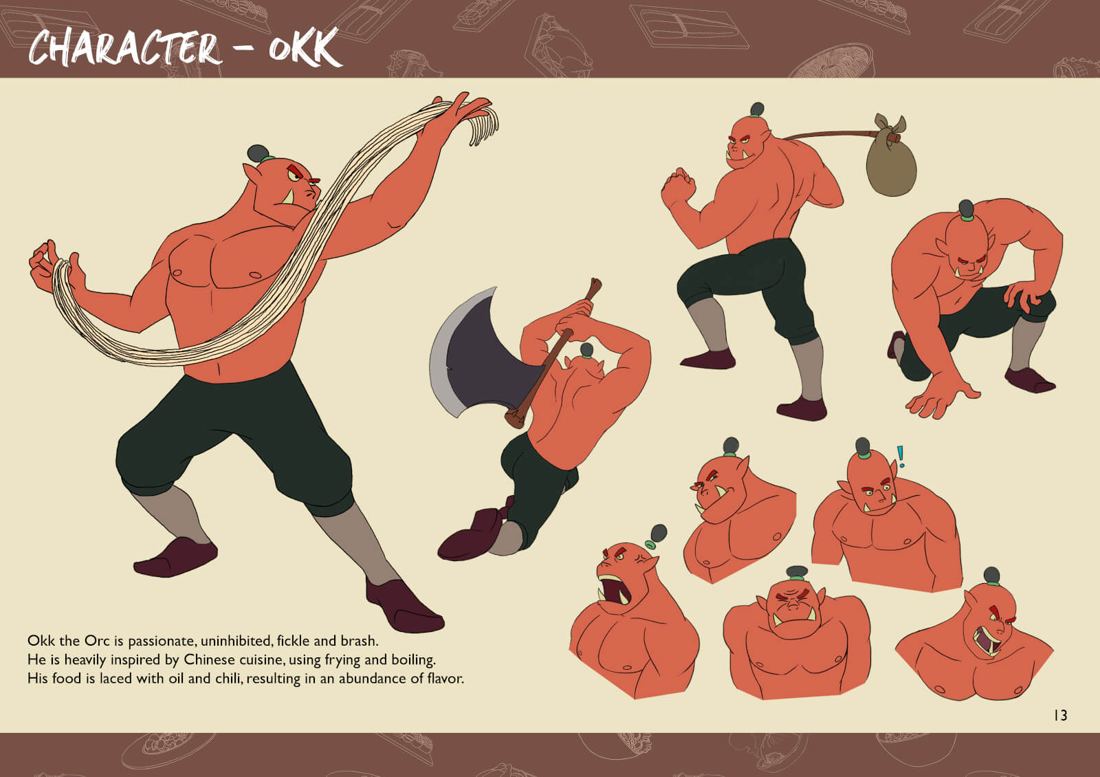 Orc characters in various action poses