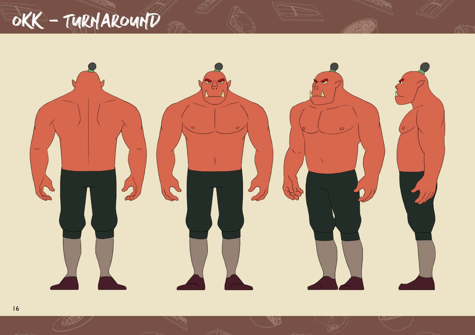 Orc character from multiple angles