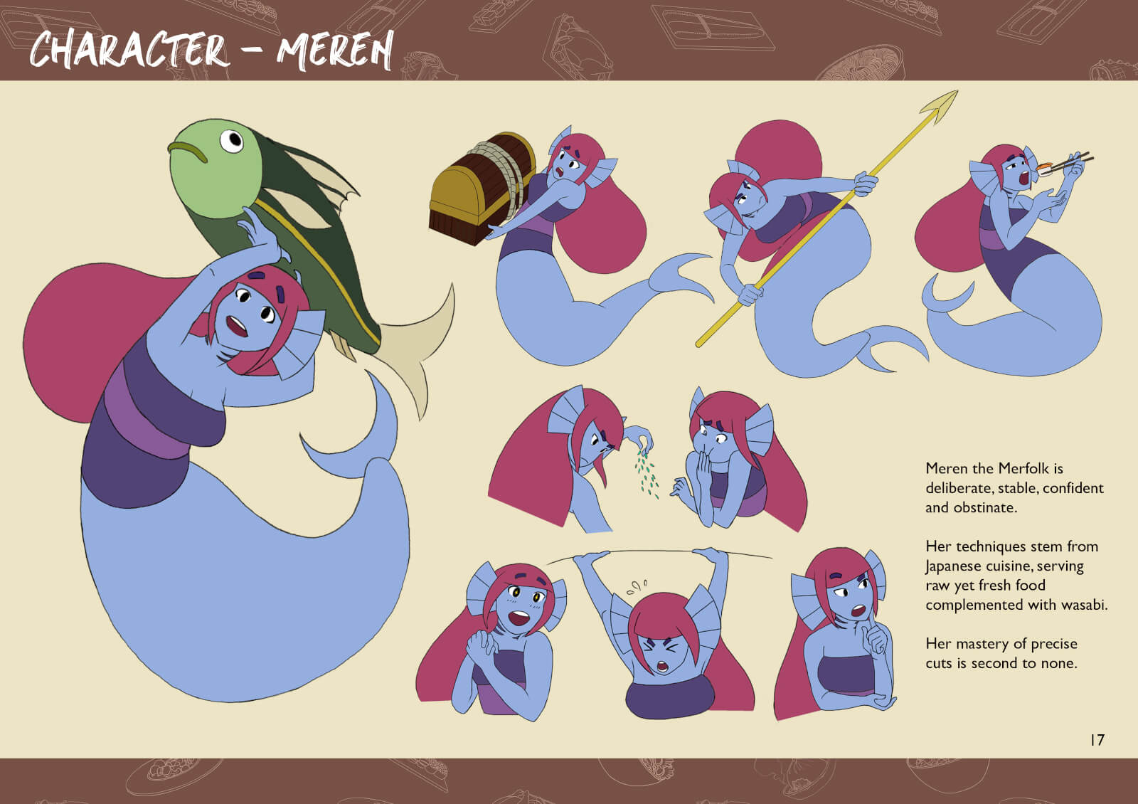 Mermaid characters in various action poses