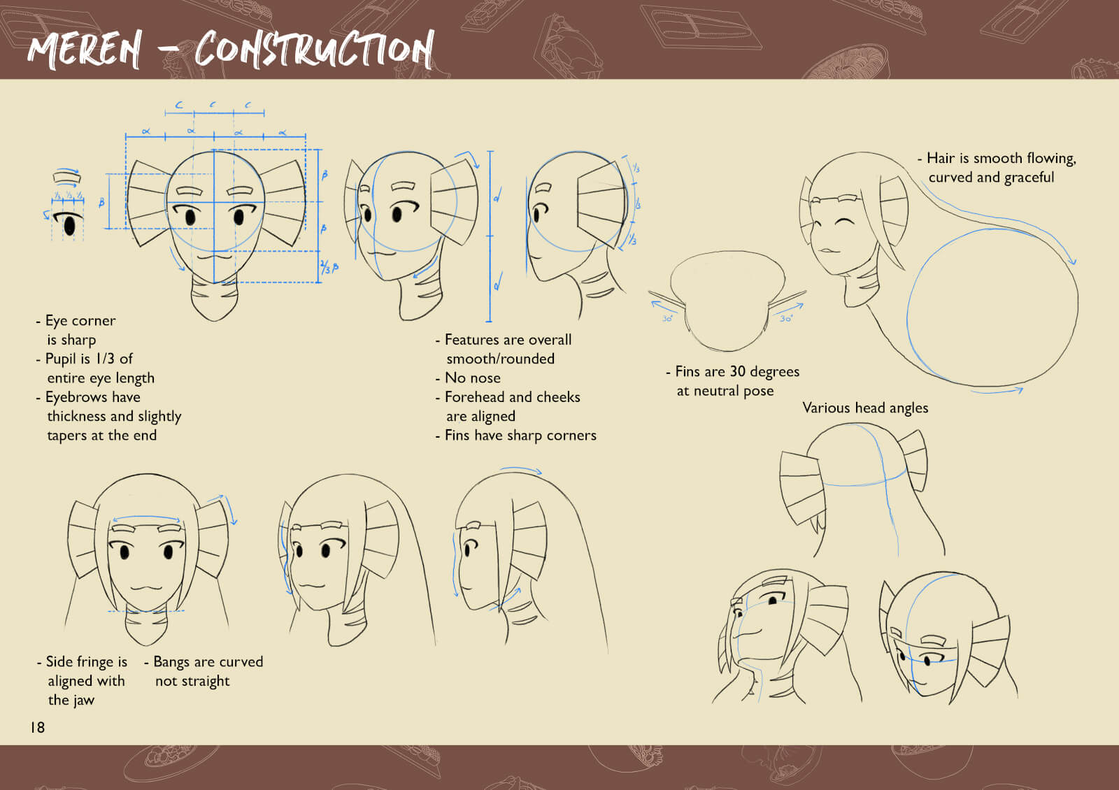 Sketches of mermaid character's head