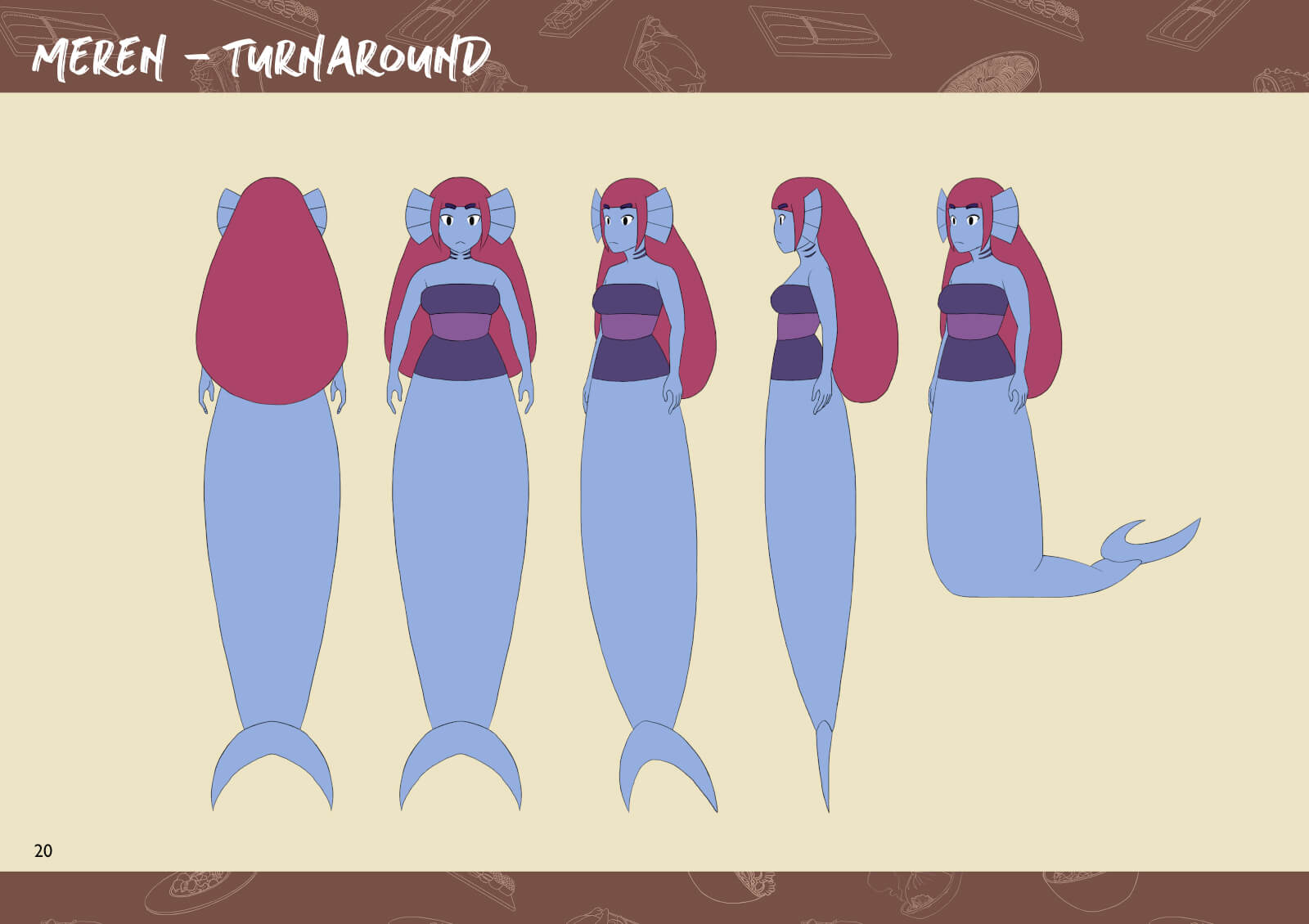 Mermaid character from multiple angles