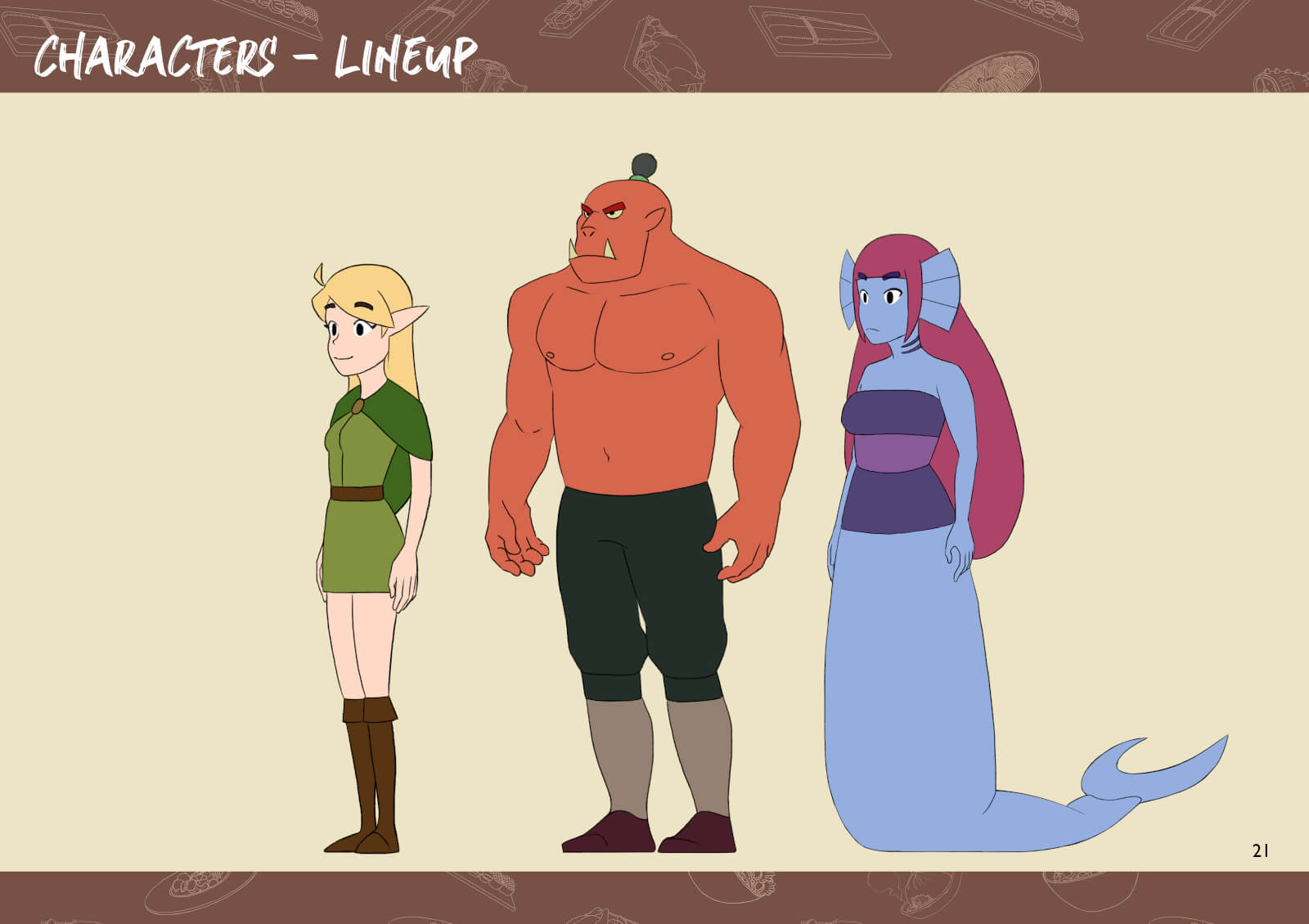 Elf, orc, and mermaid