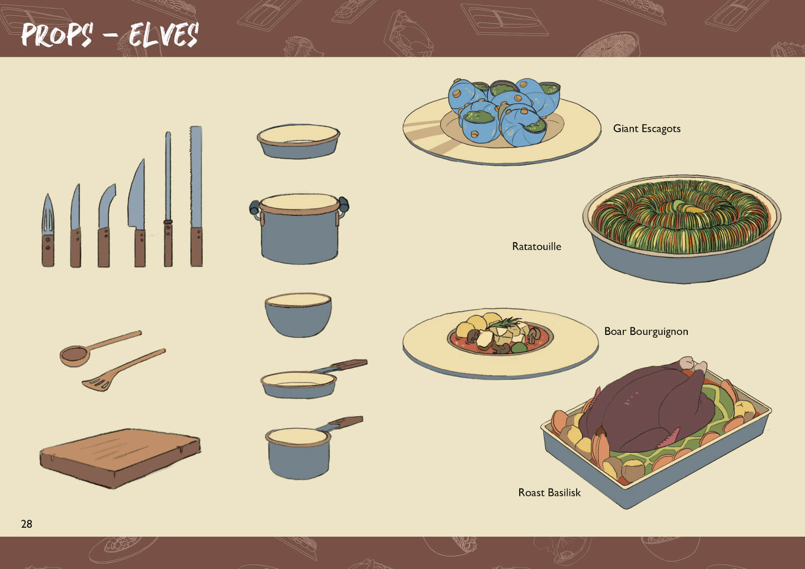 Food and cooking prop drawings