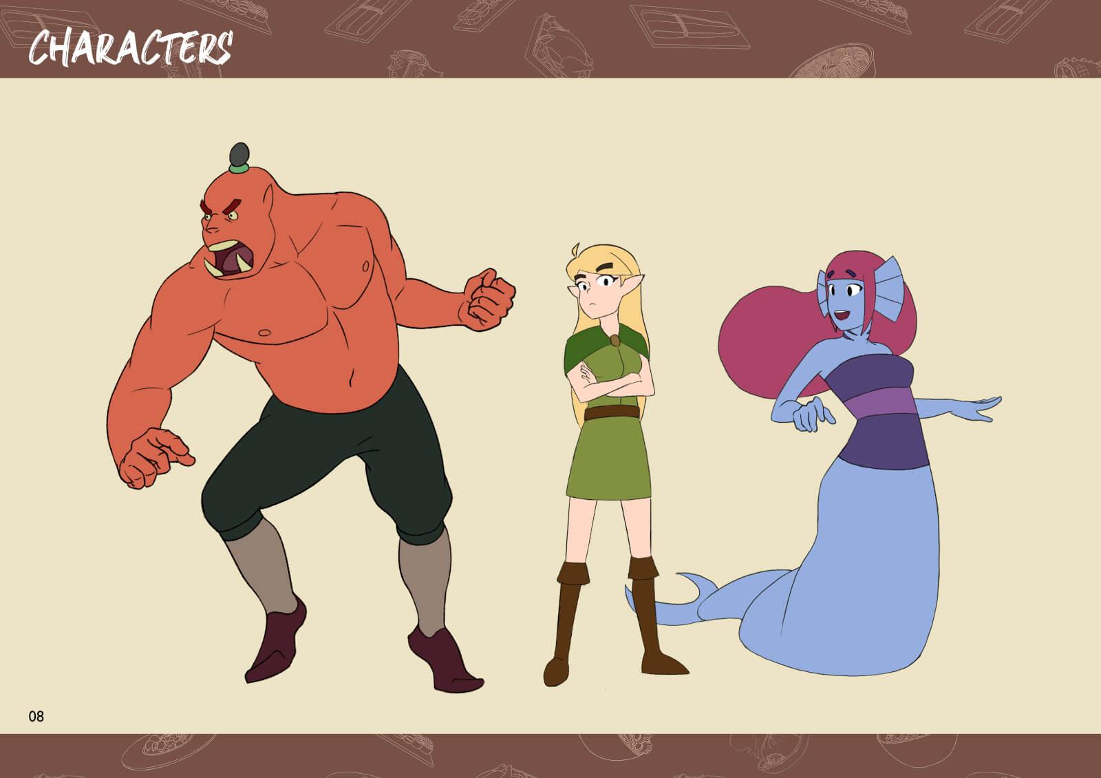 Orc, elf, and mermaid