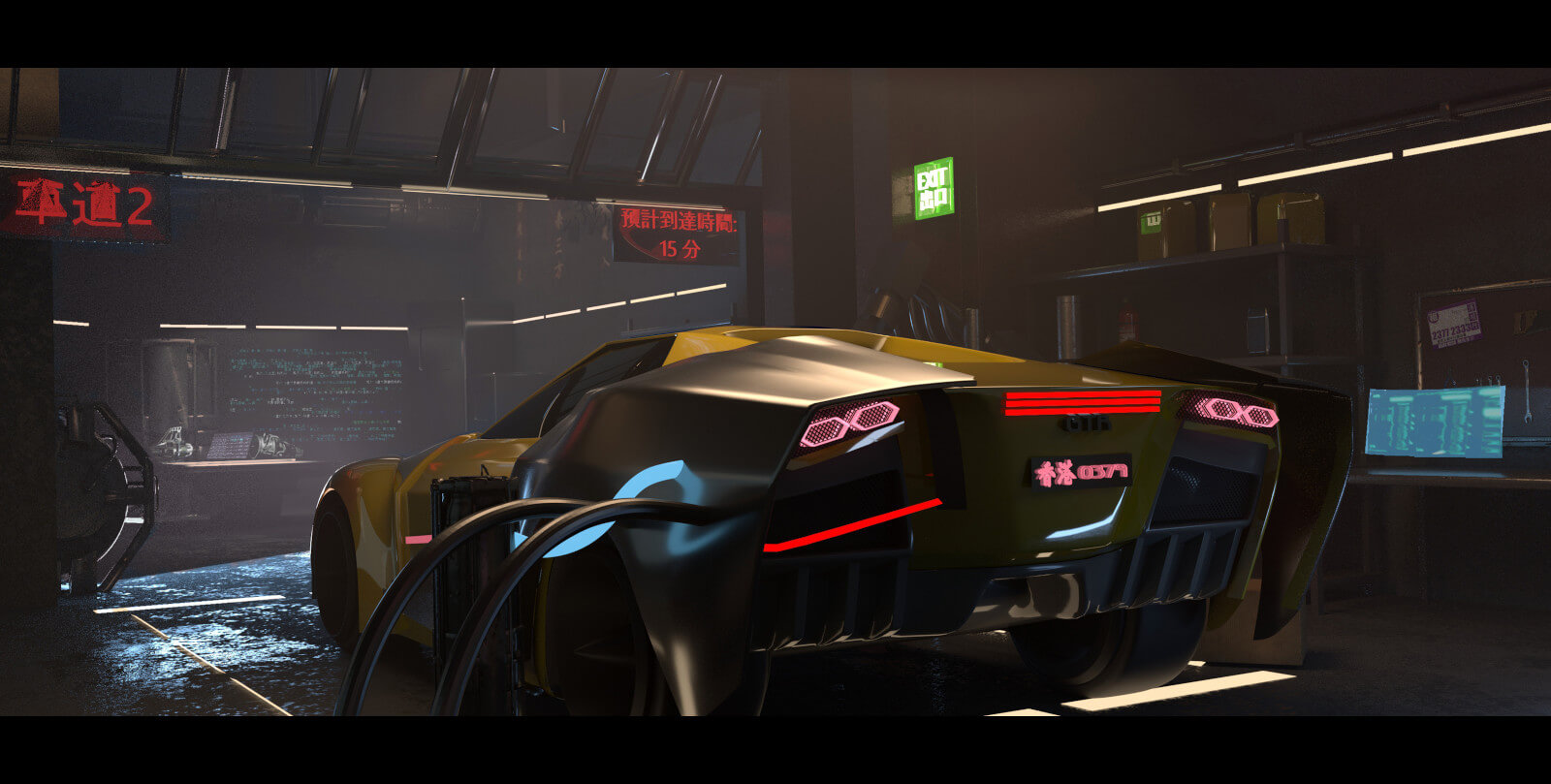 Sports car in futuristic auto garage