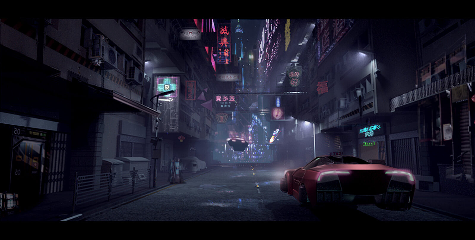 Concept art - hovering cars on futuristic city street
