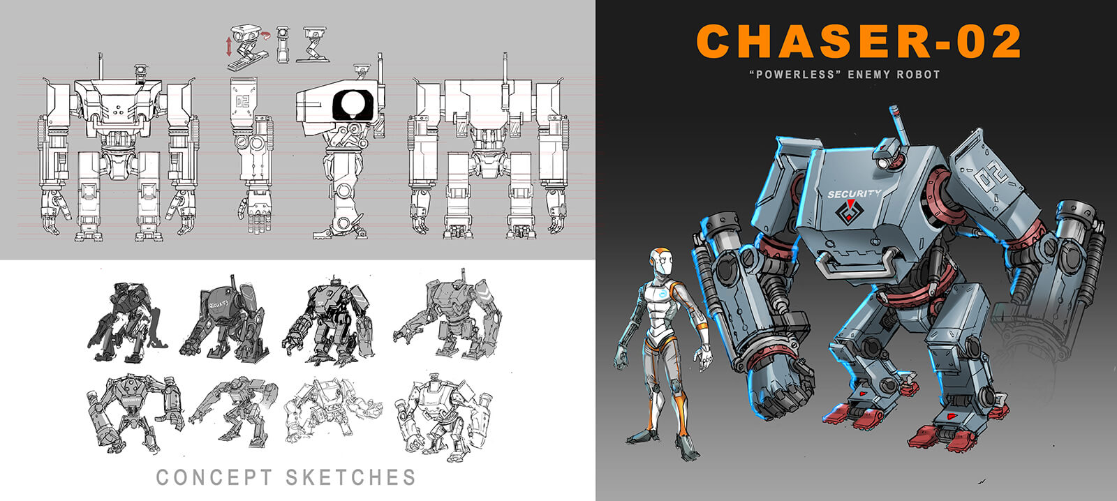 Concept sketches for an android and large robotic sentry.
